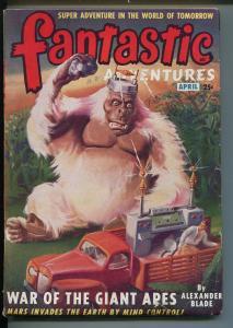 FANTASTIC 4/1949-ZIFF-DAVIS-GIANT APES-SCI-FI-CLASSIC PULP COVER-vg/fn