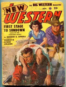 New Western Pulp November 1951- First Stage to Sundown VG
