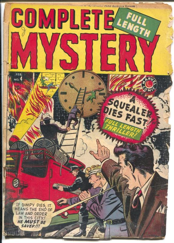Complete Mystery #4 1949-Marvel-Stan Lee-final issue-crime-horror-FR