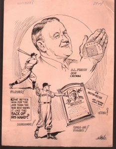 Bill Gallo Original Sporting News Art-oe Croniin-American League President-VG