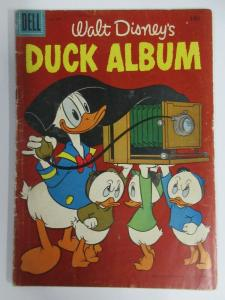 DUCK ALBUM #FC840 (Dell Four Color, 9/1957) GOOD (G) Walt Disney, BACK COVER VAR