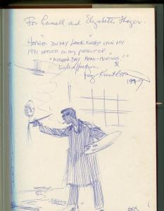 EVERETT RAYMOND KINSTLER ORIGINAL SKETCH 1975-SIGNED & INSCRIBED BOOK-vg