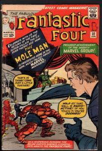 Fantastic Four #22-Jack Kirby-1964-Marvel 12 cent-Mole Man