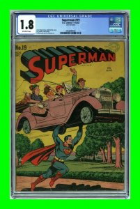 Superman #19 1942 DC Comics Jack Burnley cover CGC 1.8