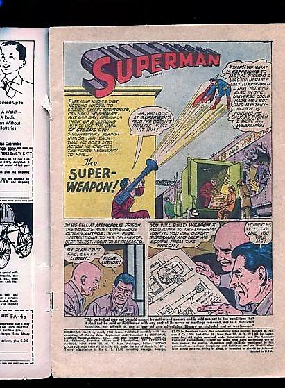 SUPERMAN  #144  (1960)  3.5  OW/W PAGES   KRYPTO.SUPERGIRL AND SUPERMAN COVER