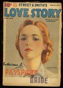 LOVE STORY JUNE 25 1938-PASSPORT BRIDE-STREET & SMITH- VG