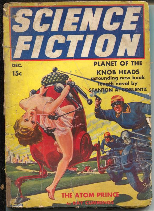 Science Fiction 12/1939-Blue Ribbon-Atom Prince-Ray Cummings-motorcycle-G