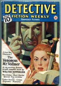 Detective Fiction Weekly Pulp Jan 28 1939-Walter Ripperger- Menace cover