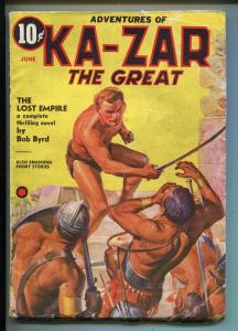 KA-ZAR THE GREAT-JUNE 1937-FINAL PULP APPEARANCE-RARE TIMELY PULP-vg+
