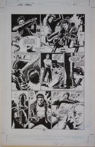 PAUL GULACY original art, SLASH MARAUD #3 pg 21, 13x20,1987, Big fight scene