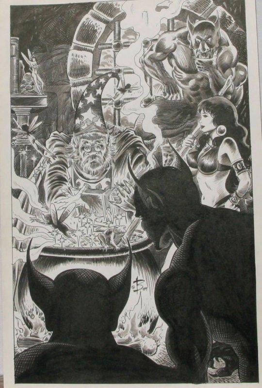NEWTON BURCHAM original published art PIRATE QUEEN Splash page 20, 11x17&q