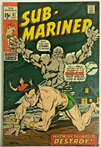 SUB-MARINER#41 VG/FN 1971 MARVEL BRONZE AGE COMICS