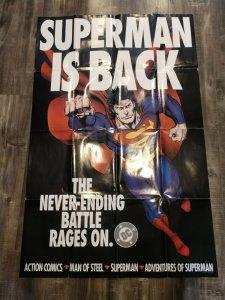 Superman is Back 1993 Never Ending Battle Man of Steel DC Comics PROMO Poster