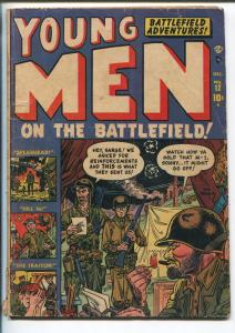 YOUNG MEN ON THE BATTLEFIELD #12 1951-ATLAS-JOE MANEELY-KOREAN WAR-RARE-good