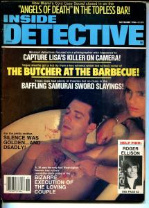 Inside Detective 11/1986-woman threatens man with knife-violent pulp thrills-VG