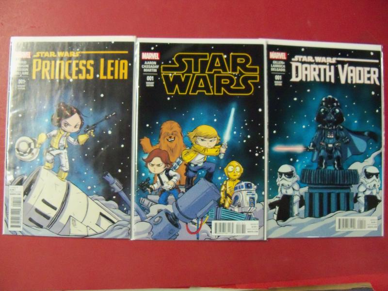 SCOTTIE YOUNG VARIANT SET OF 3 STAR WARS #1 PRINCESS LEIA #1 DARTH VADER #1  NM