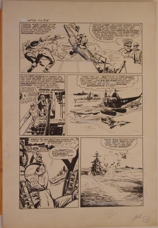 BOB POWELL original art, WARFRONT #34, pgs 1-5 + Intro, 1958, 6 pgs, Blue Angels