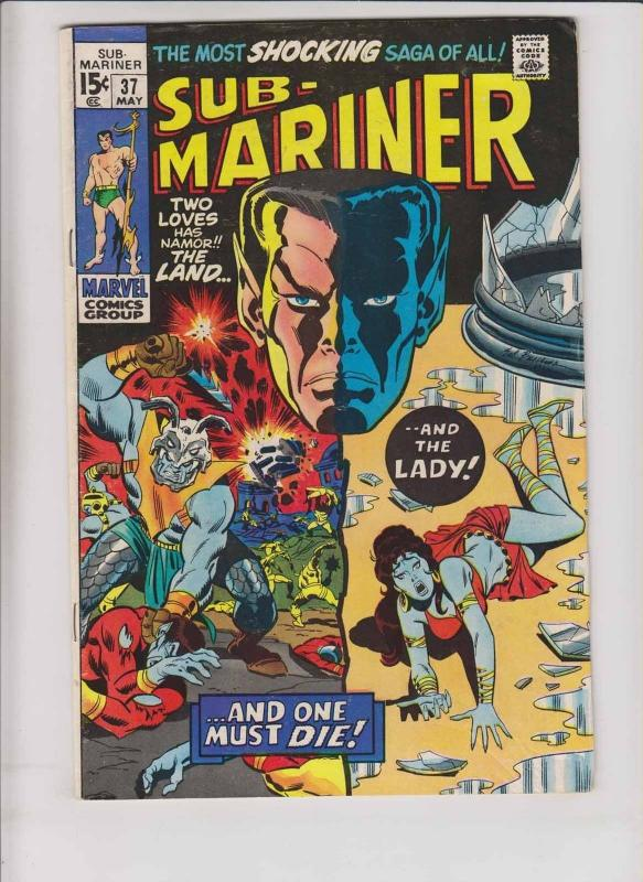 Prince Namor, the Sub-Mariner #37 FN may 1971 - death of lady dorma - marvel