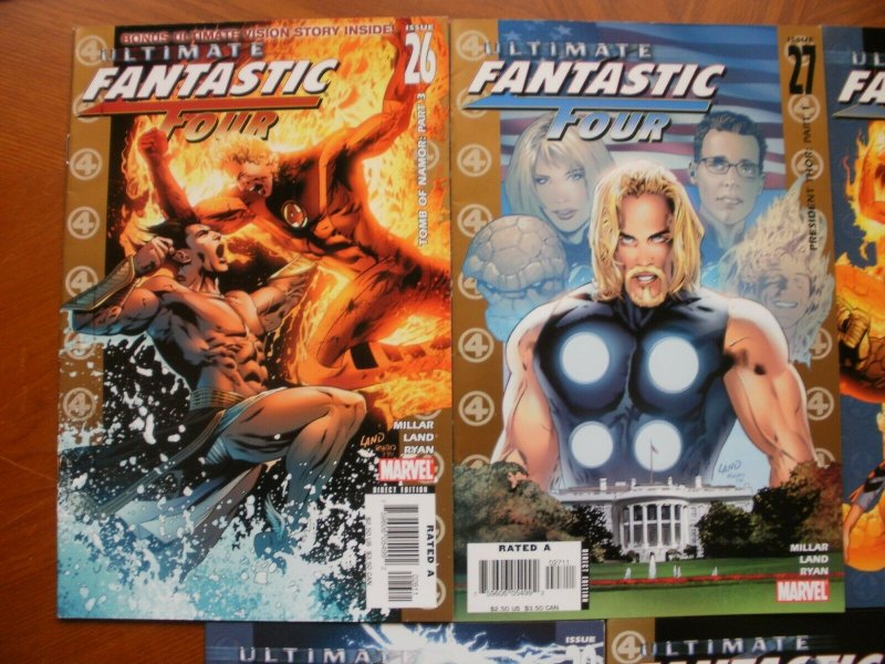 5 Near-Mint Marvel Comic ULTIMATE FANTASTIC FOUR #26 27 28 29 30 Millar Land