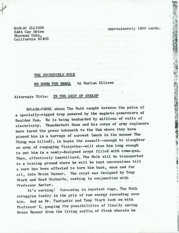 Marvel Comics Incredible Hulk Synopsis by Harlan Ellison - Photocopy