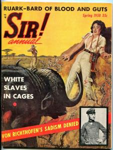 Sir! Annual 1958- Buffalo attack cover- Robert Ruark- torture