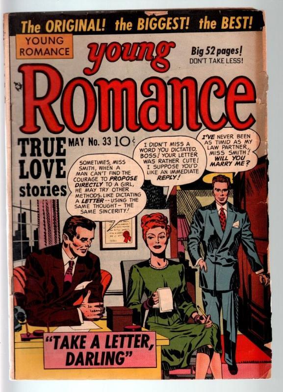 YOUNG ROMANCE #33-1951-EARLY JOE SIMON & JACK KIRBY ROMANCE COMIC  G C G