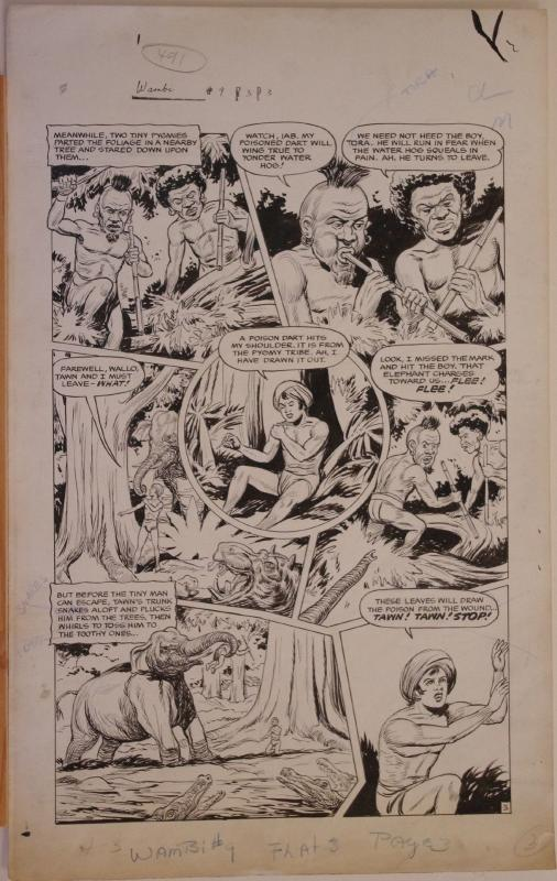 HENRY KIEFER original art, WAMBI JUNGLE BOY #9 pg 3, 14x23, 1950, Pygmie attack