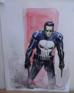 RICHARD ISANOVE original art, PUNISHER, Signed, 12x17, water color, Armed, Skull