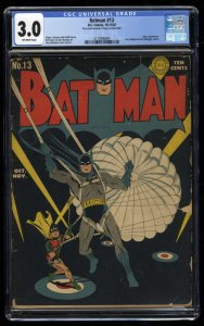 Batman #13 CGC GD/VG 3.0 Off White Classic WWII Cover!