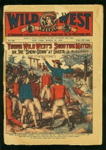 WILD WEST WEEKLY #806 3/29/18-SHOW DOWN AT SHASTA-CARD COVER-DIME NOVEL PULP FR