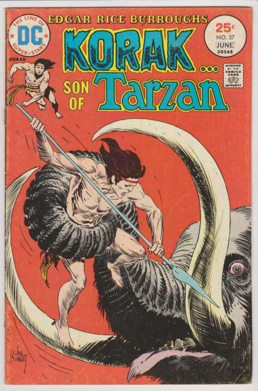 KORAK Son of Tarzan #57, VG, Joe Kubert,1972 1974, more DC in store