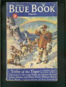 BLUE BOOK PULP-FEB 1934-PHILIP WYLIE-TRIBE OF TIGER-SF!-good minus G-