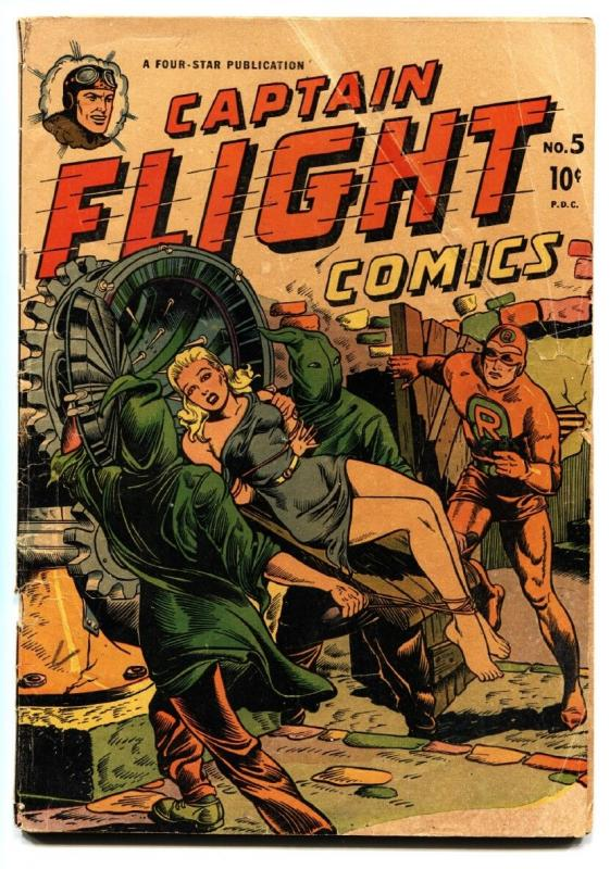CAPTAIN FLIGHT #5 1945-FOUR STAR-HOODED VILLAINS-BOUND BABE-WWII-1st Red Rocket