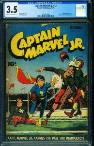 Captain Marvel Jr #13 CGC 3.5 1943-Famous WWII HITLER cover 1994163002