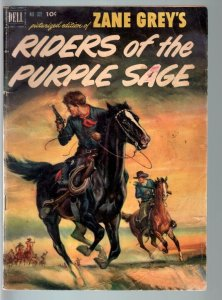 RIDERS OF THE PURPLE SAGE-FOUR COLOR #372-DELL-1952-BASED ON THE ZANE GREY  G/VG