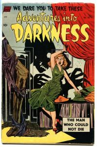 ADVENTURES INTO DARKNESS #10 1953-Hanging panels-Headlight skeleton menace cvr
