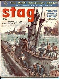 Stag  7/1958 -Mort Kunstler submarine attack cover-James Bama-Tom Ryan-VG