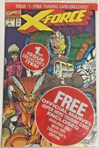 X-FORCE#1 VF/NM 1990 POLYBAGGED WITH DEADPOOL TRADING CARD MARVEL COMICS