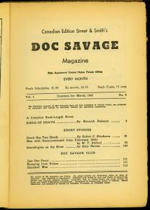 Doc Savage Pulp #9 March 1942- Birds of Death- Canadian Variant reading copy