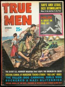True Men Magazine March 1962-Beast Woman Blood Cult-Sex Stimulants-Hildi Hessler