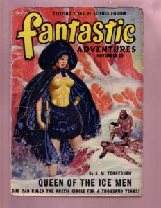 FANTASTIC ADVENTURES-NOV 1949 PULP-GIRL ART COVER-HOT VG