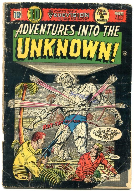 ADVENTURES INTO THE UNKNOWN #54 comic book 1954--3D issue-precode horror