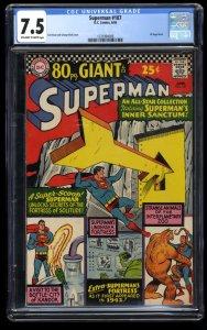 Superman #187 CGC VF- 7.5 Off White to White