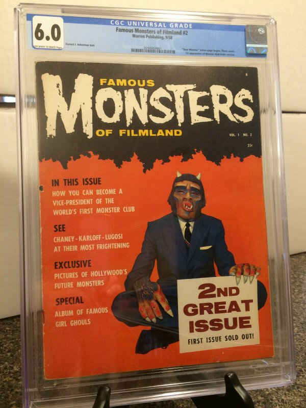 Famous Monsters Of Filmland 2  CGC 6.0   Dear Monster letters page begins 1958