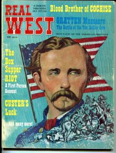 Real West 7/1973-Custers Battle Flag cover-Blood Brother of Cochise-VG+
