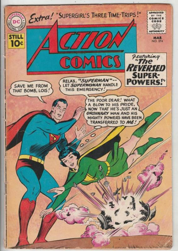 Action Comics #274 (Mar-61) VG/FN+ Mid-Grade Superman, Supergirl