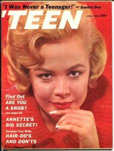 'Teen 7/1960-Petersen-Sandra Dee-Annette-Jimmy Clanton-Fashions-FN