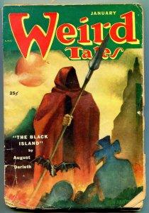Weird Tales Pulp January 1952- Black Island- Horror cover P/F