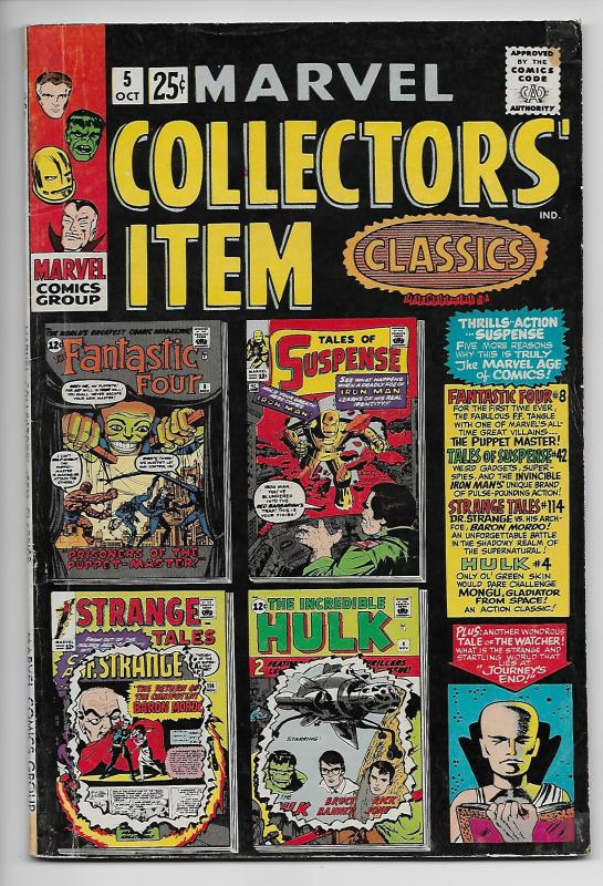 Marvel Collector's Item Classics #5 - Rep Fantastic Four #8 / Hulk #4 (1966) VG-