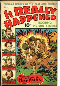 It Really Happened #4 1944-Nedor-Alex Schomburg WWII explosion cover-D-Day-VG-
